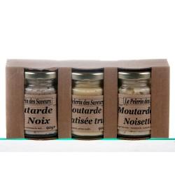 COFFRET 3 MOUTARDES -noix/truffe/noisettes-3X90gr.
