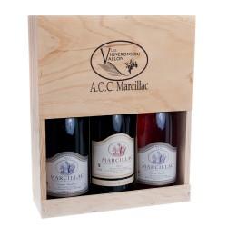 Coffret bois 3 bouteilles (rge/rosé/rés)