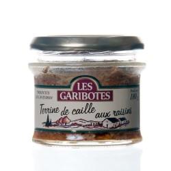 """Terrine de caille aux raisins 180g """"garibotes"""""""